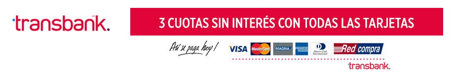 Transbank. 3 cuotas sin interés con todas las tarjetas